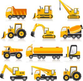Colección de vectores de vehículos de construcción