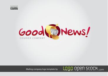 Plantilla de logotipo de empresa de correo con texto