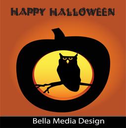 Búho de Halloween de la calabaza