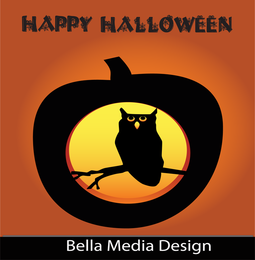 Feliz dia das bruxas coruja abóbora