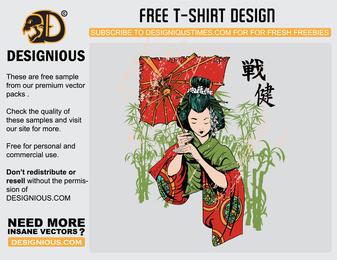 Plantilla de camiseta de vector de geisha japonesa