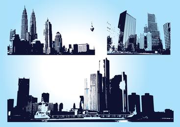 Gráficos de cidade de arranha-céu