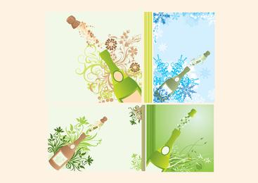 Botellas de champán saltando