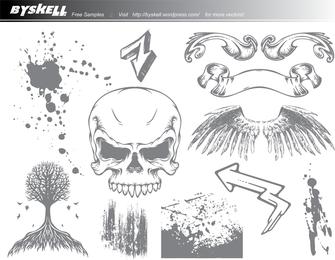 Pacote de vetores de caveira & asas Grunge