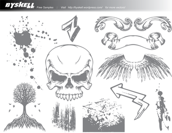 Skull & Wings Grunge Vector Pack