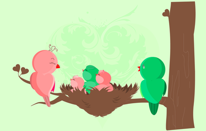 Cartão do nascimento dos pássaros de bebê