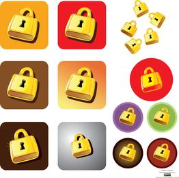Conjunto de fechaduras douradas