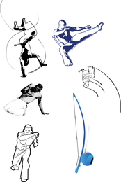 Capoeira poses illustration set