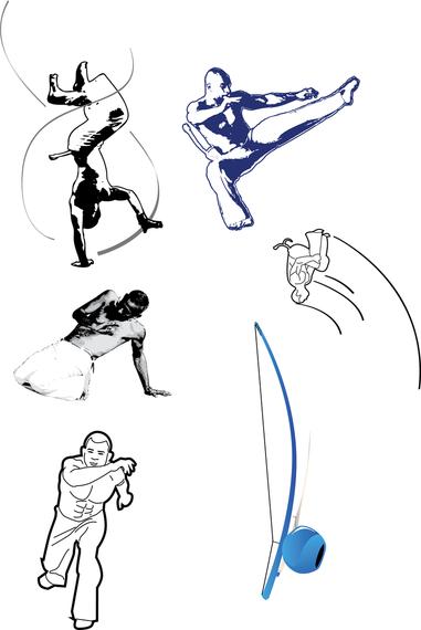 Capoeira poses illustration set