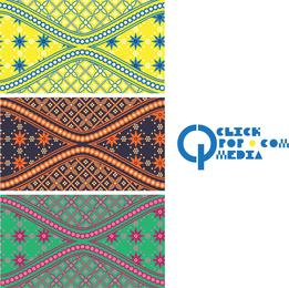 Colorful batik illustration set