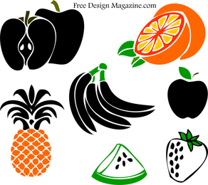 Simple colored fruits illustrations