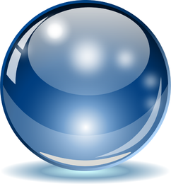 Big blue glass sphere