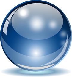 Esfera de vidro azul grande