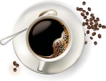 Vetor de xícara de café, visto de cima