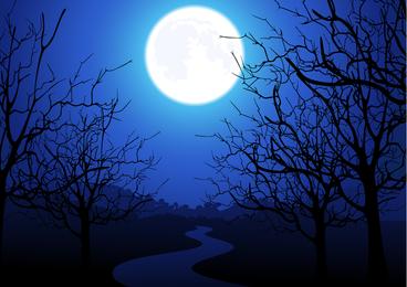 Moonlight Trees Vector