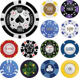 Fichas de casino del vector