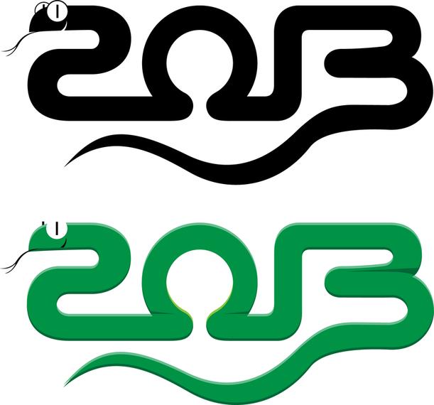 2013-jährig vom Schlangen-Design-Vektor 03