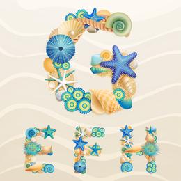 The Marine Theme Font Design 03 Vector
