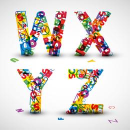 Las letras creativas diseñadas 04 Vector