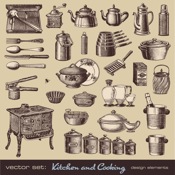 Retro Tableware 01 Vector