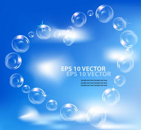 Fine Bubbles And Blue Sky 02 Vector