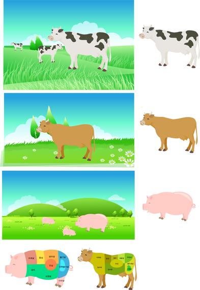 Partes de carne de cerdo del vector de mapa de descomposición