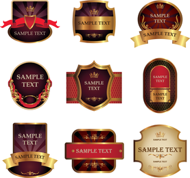 Adesivos E Etiquetas Vinho Vetor 3