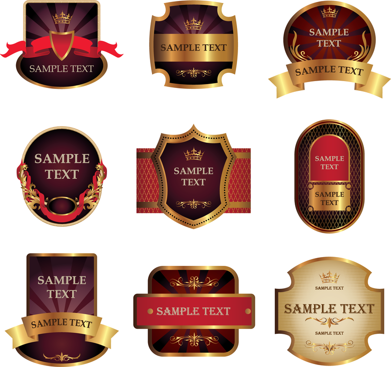 Stickers And Labels Wine Vector 3 - Vector download