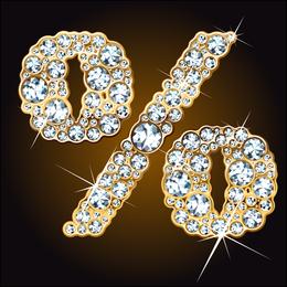 Vector de número de diamante de Starstudded