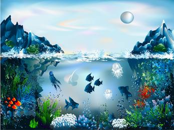 Magnífico mundo subaquático 03 Vector