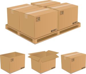 Set de cajas de carton ilustradas.