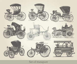 Antique Vehicles 02 Vector