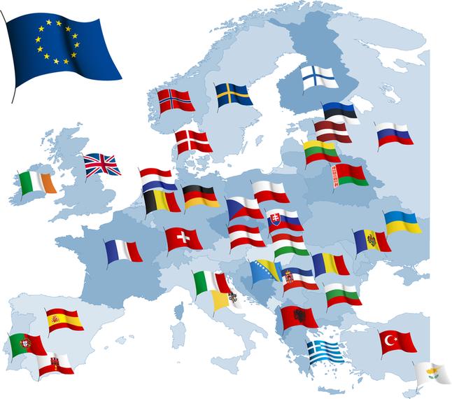 Mapa de Europa con banderas ilustracin  Descargar vector
