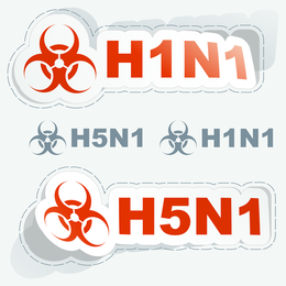 Set of labels in red letters