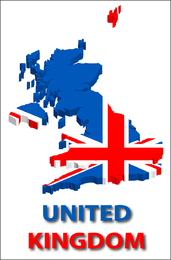 3D United Kingdom silhouette with flag