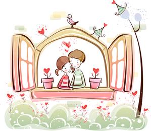 Cute Little Couple Vector 1630