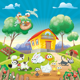 Happy Farm Lovely Vector