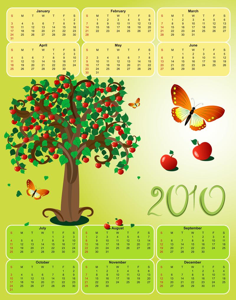 2010 Apple Theme Calendar Template Vector Butterfly Vector Download