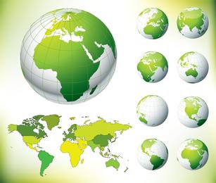Tierra verde y el vector mapa mundial