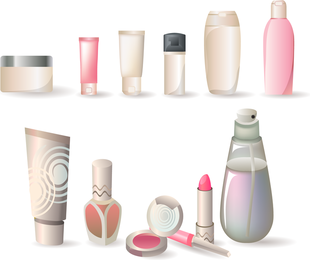 A Variety Of Cosmetic Bottles Vector