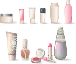 Una variedad de botellas cosmético del vector