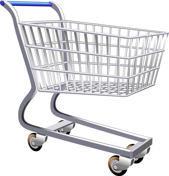 Supermarket Shopping Cart Vector