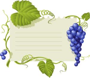Vetor de quadro de avisos de tema de uva roxo