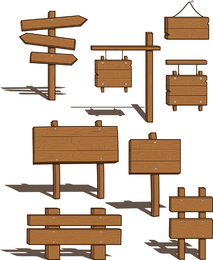 Wood Sign Signs Vector