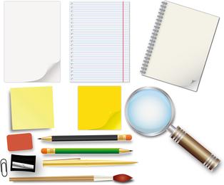 Material de oficina y maqueta de papelería.