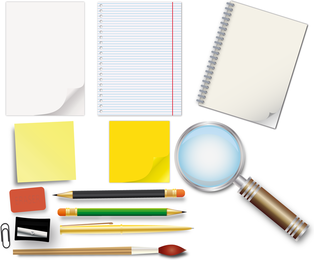 Office supplies and stationery mockup