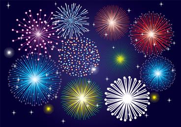 Vector 5 Brilliant Fireworks Fireworks