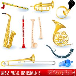 Una variedad de instrumentos musicales Vector