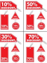 Rabatt- und Verkaufsrotmarken
