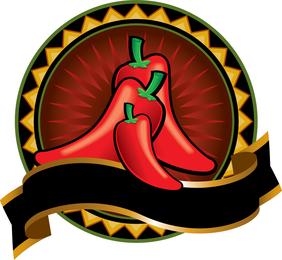 2 Red Peppers Tema Decorações Vector